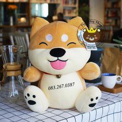 Chó bông Shiba Inu le lưỡi lông 3D siêu cute Littlecucu (50cm)