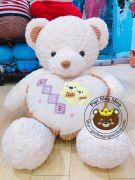 Gấu ôm tim Love 2 con gấu viền nhung nâu (1m)