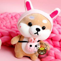 Chó bông Shiba nón thỏ/ voi/ heo/ pikachu