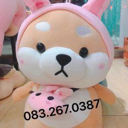 Chó bông Shiba nón thỏ (45cm, 60cm)