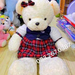 Gấu bông teddy váy caro đỏ (1m2)