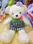 Gấu bông teddy váy caro hoa hồng (1m2)