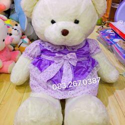 Gấu bông trắng lông mịn váy đầm chấm bi tím (1m3)