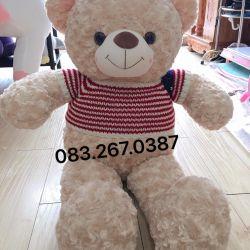 Gấu bông teddy trắng kem áo len cờ mỹ (90cm, 1m2, 1m4, 1m8)