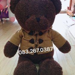 Gấu bông teddy baby socola áo khoác burbbery (80cm)