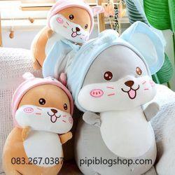 Gấu bông hamster nón thỏ/ voi (40cm, 50cm, 60cm, 70cm)