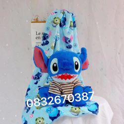 Gối mền Stitch cười ngồi (60cm, mền 1m*1m5)