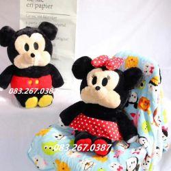 Gối mền Mickey /Minnie (60cm, mền 1m* 1m5)
