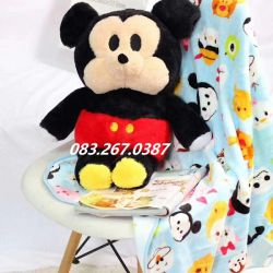 Gối mền Mickey ngồi (60cm, mền 1m* 1m5)