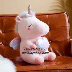 Gấu bông kì lân unicorn cánh bạc 7 màu (80cm, 1m)