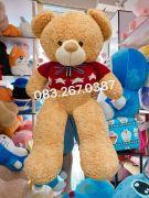 Gấu bông teddy lông mịn vàng, áo len xanh Happy Everyday (1m2, 1m4)
