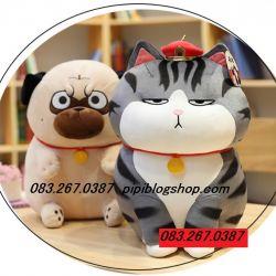 Gấu bông Mèo Hoàng thượng / Chó Cách Cách đứng (40cm, 50cm, 65cm)