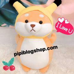 Cho bong Shiba dung cosplay pikachu (60cm, 1m)