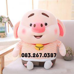 Gấu bông Heo Tiktok áo sọc, hàng chính hãng Littlecucu