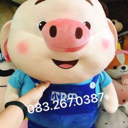Gấu bông Heo Tiktok áo xanh, hàng chính hãng Littlecucu