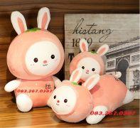 Thỏ bông trái cây màu hồng dễ thương sang trọng (40cm, 60cm, 80cm)