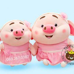Gấu bông Heo Tiktok váy hồng, hàng chính hãng Littlecucu