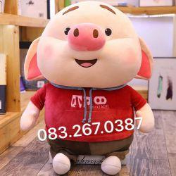 Gấu bông Heo Tiktok áo đỏ, hàng chính hãng Littlecucu