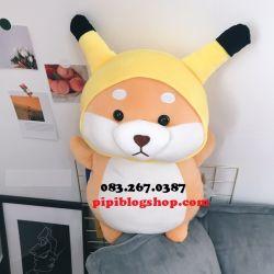 Chó bông Shiba cosplay Pikachu (60cm, 1m)