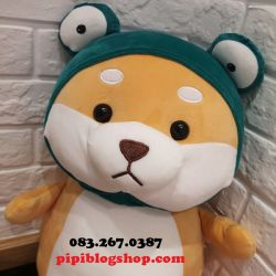 Chó bông Shiba đứng cosplay Ếch (60cm, 1m)
