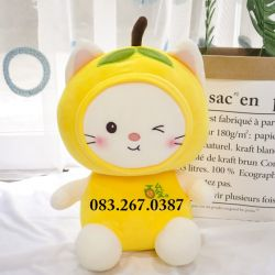 Mèo bông trái cây dạng ngồi, nháy mắt, lông mịn (40cm, 60cm, 80cm)