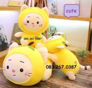 Mèo bông trái cây vàng, dạng nằm, mở mắt, lông siêu mịn (40cm, 60cm, 80cm)