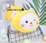 Mèo bông trái cây vàng, dạng nằm, nháy mắt, lông siêu mịn (40cm, 60cm, 80cm)