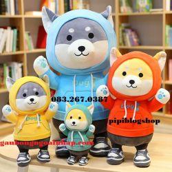 Chó bông Husky áo hoodie (30cm, 50cm,60cm,80cm)