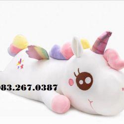 Ngựa bông unicorn cầu vồng - màu trắng (60cm)