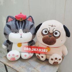 Gấu bông Mèo hoàng thượng / Chó cách cách ngồi, hàng chính hãng (45cm, 60cm)