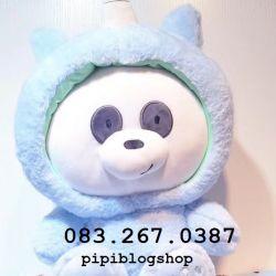 Gối mền 3 con gấu - Panda cosplay unicorn (60cm), mền 1m  1m5