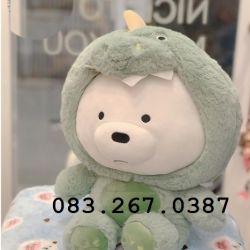 Gối mền 3 con gấu - We are bears - Gấu trắng cosplay khủng long