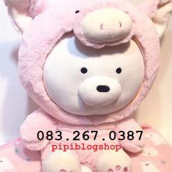 Gối mền 3 con gấu - We are bears - Gấu trắng cosplay heo hồng