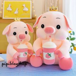 Heo bông King trà sữa dâu (40cm, 50cm, 60cm, 70cm)