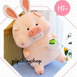 Heo bông tai thỏ đeo túi bắp cải Lộc phát (1m)
