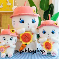 Mèo bông Elly nón hồng