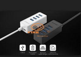 Bộ chia USB Hub 4 cổng USB 2.0,Đen, ORICO W5P-U2-30-BK