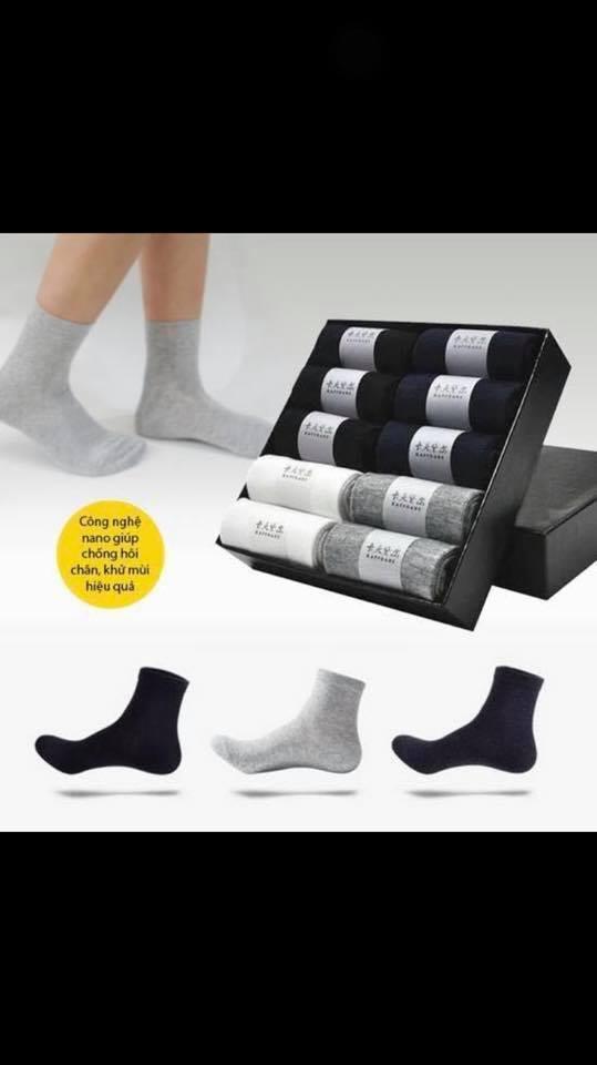 Hộp 10 đôi tất nam sợi tre công nghệ Nano Nhật Bản kháng khuẩn khử mùi chống hôi chân