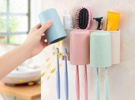 Giá để bàn chải, kem đánh răng 3 cốc ecoco kèm dụng cụ nhả kem tự động