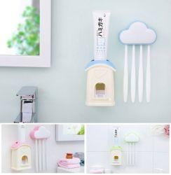 Giá treo 4 bàn chải đám mây kèm dụng cụ nặn kem đánh răng tự động ecoco