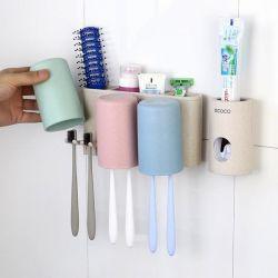Giá treo bàn chải, kem đánh răng 3 cốc kèm dụng cụ nặn kem tự động ecoco