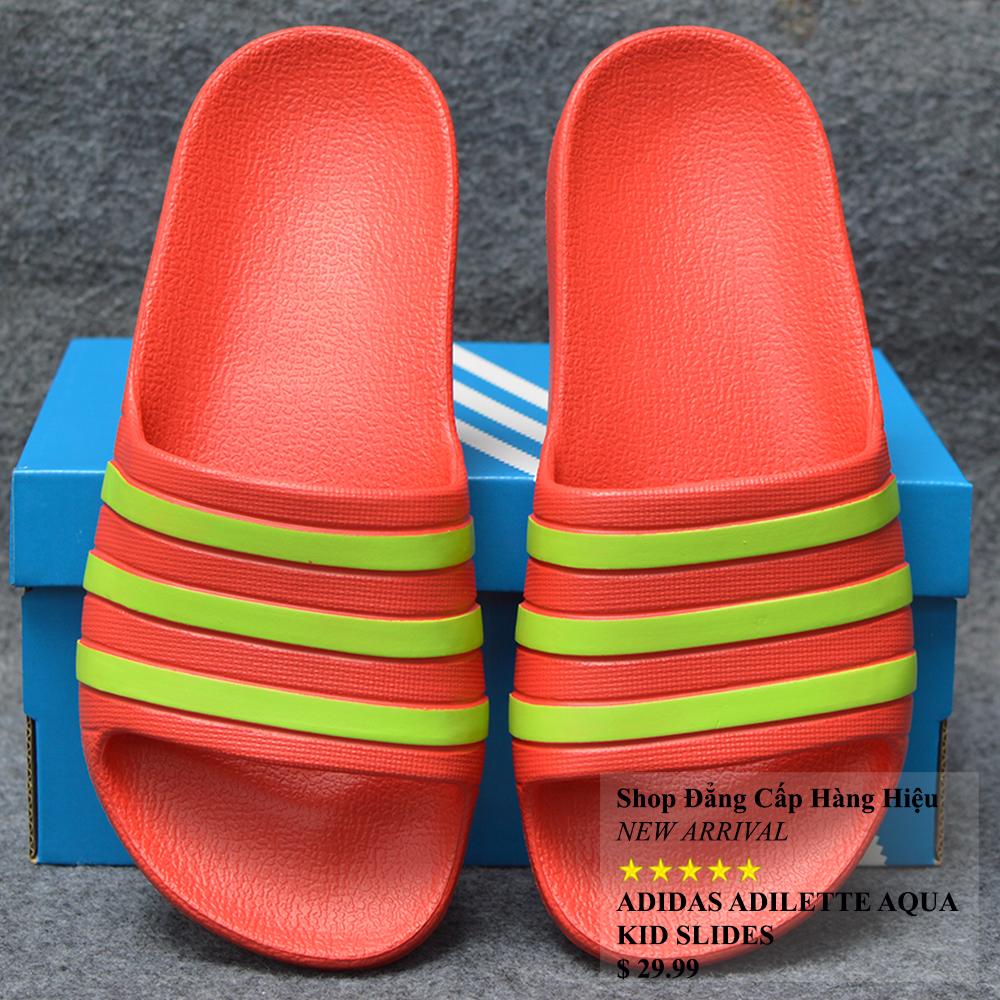 Dép trẻ em Adidas Adilette Aqua Kid màu đỏ sọc chuối