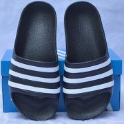Dép trẻ em Adidas Adilette Aqua Kid màu đen sọc trắng