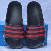 Dép trẻ em Adidas Adilette Aqua Kid màu đen sọc đỏ