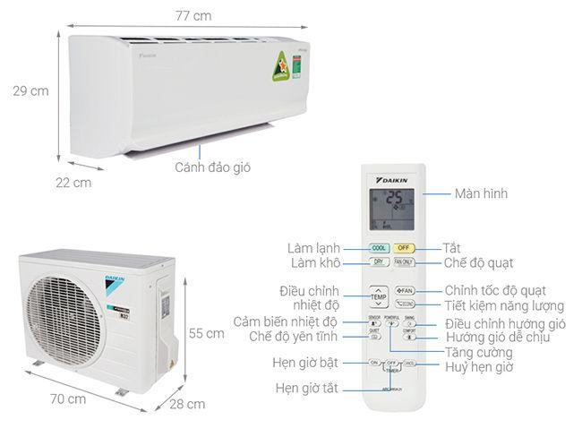 Điều hòa - Máy lạnh Daikin ATKC35TAVMV - 1 chiều, inverter, 1.5 HP
