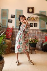 Đầm Hoa Vai Trễ Siêu Xinh Kèm Băng Đô Cùng Màu Váy NX3032