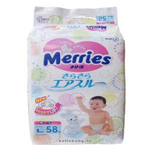 Bỉm MERRIES - L58 dán bịch