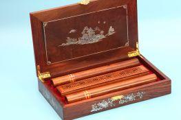 Hộp đôi gỗ quý khảm trai 32g Nam Việt Quốc Hương trầm