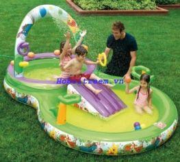 Hồ bơi phao cầu trượt, vòi phun nước Intex 57451