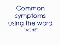"Diseases with the ending ""ache"""